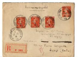 B18 1915 En FM Lettre Recommandée Sp 12     étiquette Au Dos Bizarre - Marcophilie (Lettres)