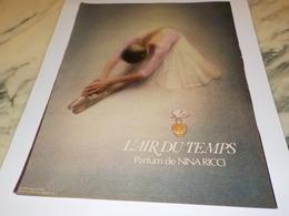ANCIENNE PUBLICITE PARFUM  L AIR DU TEMPS DE NINA RICCI  1978 - Perfumes & Belleza