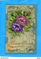 SUPERBE CARTE  Fleurs Peintes Main Sur Celluloïd -encadrement  Mécanique-a Voyagé-en 1907 - Cartes Postales