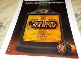 ANCIENNE PUBLICITE COGNAC PRINCE HUBERT DE POLIGNAC 1978 - Alcools