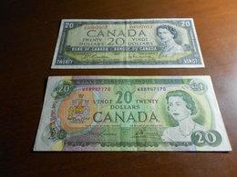 CANADA  1954  -  1969   -         20    DOLLARS  BILLETS   LOT - Canada