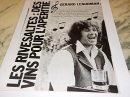 ANCIENNE PUBLICITE APERITIF VIN RIVESALTES ET GERARD LENORMAN  1978 - Alcools