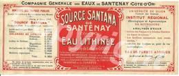 Ancienne étiquette Publicitaire Grand Format De L'eau Minérale De La Source Santana à Santenay-les-Bains En Côte-d'Or - Autres
