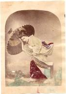 JAPON Photographie Originale Tirage Albuminé Aquarellé Ca 1880 - Geisha Affrontant La Pluie Avec Son Ombrelle ! - Old (before 1900)