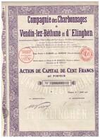 Titre Ancien - Compagnie Des Charbonnages De Vendin-lez-Béthune Et D' Elinghen - Titre De 1930 - - Mines