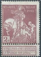 BELGIO  BELGIUM  BELGIE BELGIQUE 1910 Charity Stamps 2C Mint - 1910-1911 Caritas