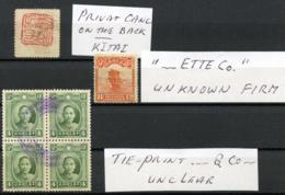 CHINA - 'TIE'-prints On  2 Stamps And A Block Of 4. - China