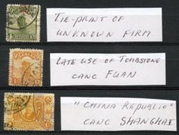 CHINA - Three (3) 'TIE'-prints On Older Stamps. - China