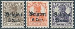 "BELGIO BELGIUM BELGIE BELGIQUE 1916 Occupation German Empire Postage Stamps Surcharged""F And Cent""& Overprinted""Belgien"" - WW I"