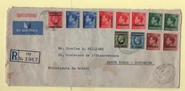 Enveloppe Recommandée Bureau Anglais 1937 Pour Monaco-Fondouk Américain (vétérinaire) - Morocco Agencies / Tangier (...-1958)