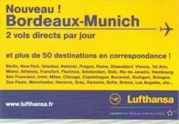 """Carte Postale édition """"Carte à Pub"""" - Lufthansa (compagnie D'aviation - Voyage) Nouveau ! Bordeaux - Munich - Advertising"""