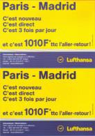 """2 Cartes Postales édition """"Carte à Pub"""" - Lufthansa (compagnie D'aviation) Paris - Madrid - Advertising"""