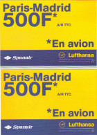 """2 Cartes Postales édition """"Carte à Pub"""" - Lufthansa Spanair (compagnie D'aviation) Paris - Madrid - Advertising"""