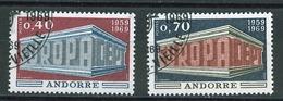 Europa  CEPT 1969 Andorre Français - Andorra Y&T N°194 à 195 - Michel N°214 à 215 (o) - Europa-CEPT