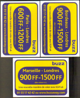 """3 Cartes Postales édition """"Carte à Pub"""" - Buzz KLM (compagnie D'aviation) - Paris, Bordeaux, Marseille - Londres - Advertising"""