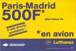 """Carte Postale édition """"Carte à Pub"""" - Lufthansa Spanair (compagnie D'aviation - Voyage) Paris - Madrid - Advertising"""