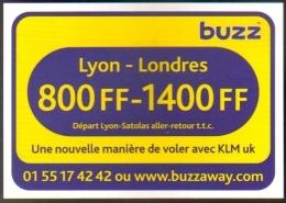"""Carte Postale édition """"Carte à Pub"""" - Buzz (KLM - Compagnie D'aviation) Lyon - Londres - Advertising"""