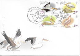 Ukraine 2007 MiNr. 897c - 900c  WWF Birds Rosapelikan Great White Pelican FDC 7,00 € - Ukraine