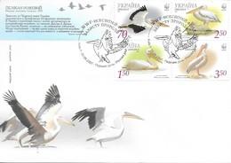 Ukraine 2007 MiNr. 897c - 900c  WWF Birds Rosapelikan Great White Pelican FDC (text In Ukrainian) 7,00 € - Brieven En Documenten