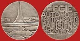 ** MEDAILLE  REGIE  AUTONOME  Des  TRANSPORTS  PARISIENS  1949 - 1974 ** - Monetari / Di Necessità
