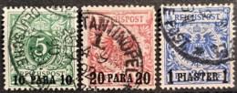 GERMAN OFFICE IN TURKEY 1889 - Canceled - Mi 6, 7, 8 - 10p 20p 1P - Bureau: Turquie