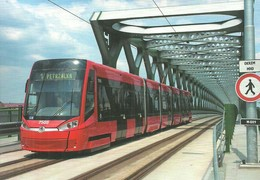 TRAM TRAMWAY * RAIL RAILWAY RAILROAD * SKODA DPB POZSONY BRATISLAVA SLOVAKIA SLOVAK OLD BRIDGE * Top Card 0493 * Hungary - Tramways