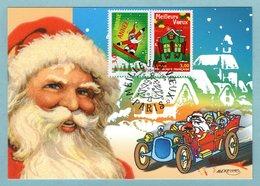 Carte Maximum 1998 - Meilleurs Voeux 1998 - Maison Verte YT 3203 Et Bonne Année, Père Noël YT 3204 - Paris - Cartes-Maximum