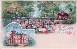Allemagne, Gruss Aus Dem Stadtgarten Köln, Carte Ajourée Avec Effet De Lumière (21.7.1899) - Tegenlichtkaarten, Hold To Light