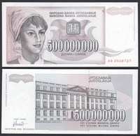 Jugoslawien - Yugoslavia 500 Millionen Dinara 1993 Pick 125 UNC (1)    (26410 - Joegoslavië