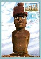 Carte Maximum 1998 - UNESCO 1998 - Statues De L'ile De Pâques - YT 119 - Paris - Cartes-Maximum