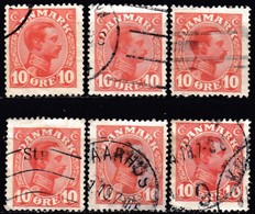 DENMARK - Scott #100 King Christian X / Lot Of 6 Used Stamps (k3577) - Timbres