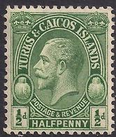 Turks & Caicos 1928 KGV 1/2d Green MM SG 176 ( H179 ) - Turks E Caicos