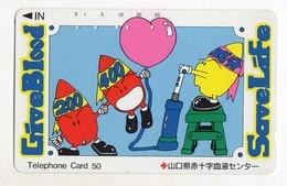 JAPON TELECARTE CROIX ROUGE GIVE BLOOD SAVE LIFE - Phonecards