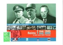 Carte Commémorative Cachet 60e Anniversaire Capitulation Allemande, Reims 7 Mai 1945 - 2005 Général De Gaulle TBE - Militaria