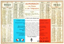 CPM Calendrier Et Appel Du 18 Juin 1940 à Tous Les Français Par Le Général Charles De Gaulle TBE - Politieke En Militaire Mannen
