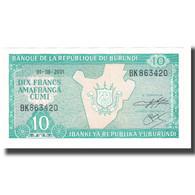 Billet, Burundi, 10 Francs, 2001, 2001-08-01, KM:33a, NEUF - Burundi