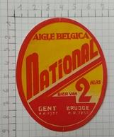 ETIQUETTE  BRASSERIE AIGLE BELGICA GENT  BRUGGE NATIONAL - Bier