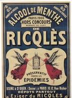 Ricqlès Préservatif Contre Les épidémies (carte Moderne) - Advertising