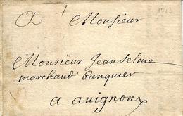 1713- Lettre De Sainte EULALIE  ( Gironde ) Sans Marque Ni Taxe ( Lettre Confiée ) Pour Avignon - Postmark Collection (Covers)