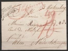 """L. Sans Texte Pour FRANCFORT ULM + Marque Rouge """"BRUSSEL/FRANCO"""" + Marque Passage """"Franco/Grenzen"""" + Marques De Bonifica - 1815-1830 (Dutch Period)"""