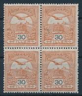 ** 1913 Turul 30f Négyestömb Fekvő Vízjellel (104.000) Mi 119Y Block Of 4 - Stamps