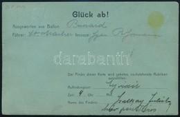 "1912 Ballonposta Levelezőlap: Bussard Ballon Budapest - Újvidék, ""ZIMONY-BUDAPEST"" Vasúti Bélyegzéssel Fischamendbe - Stamps"