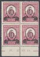 ** 1931 Kisegítő 506B ívszéli Négyestömb (60.000) - Stamps