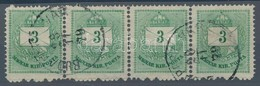 O 1874 3kr 4-es Csík, Ritka, Luxus Darab! - Stamps