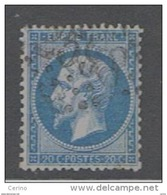 FRANCE:  1862  NAPOLEON  III°  -  20 C. BLEU  OBL. -  YV/TELL. 22 - 1862 Napoleon III