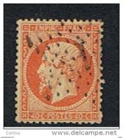 FRANCE:  1862  NAPOLEON  III°  -  40 C. ORANGE  OBL. -  YV/TELL. 23 - 1862 Napoleon III