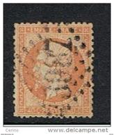 FRANCE:  1862  NAPOLEON  III°  -  40 C. ORANGE  PALE  OBL. -  YV/TELL. 23 A - 1862 Napoleon III