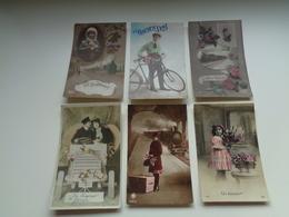 Beau Lot De 20 Cartes Postales De Fantaisie  Bonjour  Souvenir  Train Mooi Lot 20 Postkaarten Van Fantasie Groeten Trein - Postales