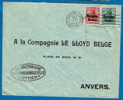 OC 12 Et 14  Lettre Obl Luttich Liège Vers Anvers - [OC1/25] Gen.reg.