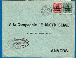 OC 12 Et 14  Lettre Obl  Gand Vers BXL - [OC1/25] Gen.reg.